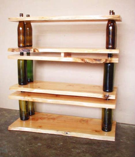 DIY Bottled-Wood Shelf