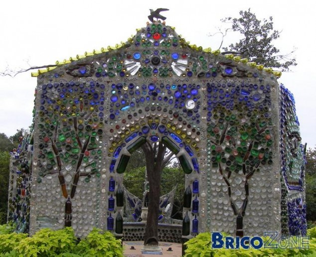 Temple Created from Old Alcohol Glass Bottles